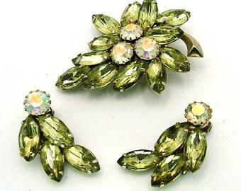 Vintage Juliana Rhinestone Brooch Earrings Set AB & Pale Green Navette Demi Parure