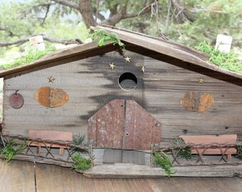 Rustic Wood Birdhouse Reclaimed Barnwood Shake Roof Indoor Outdoor Cabin Garden Decor #2