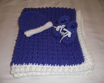 Crochet baby blanket set, baby boy, baby shower gift, newborn baby gift, hat and booties, blue