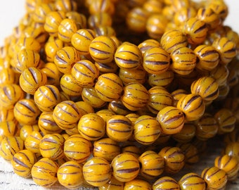 Pumpkin Beads - 6mm Melon Bead - Czech Glass Beads - Jewelry Making Supplies (25 beads) Mustard Brown
