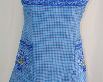 One Size  Blue L-M Floral Embroidered Folk Peasant Traditional Mexican Multi-use Apron. Can be worn around the house or elsewhere