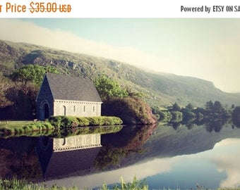 Ireland Photography Gougane Barra Church Monestary settlement sunrise lake reflection water mountains Irish landscape quaint misty