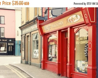 Ireland Travel Photography street photography red deli delicatessen red store Listowel Irish town