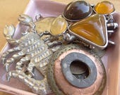 Large Metal Steampunk Vintage jewelry Destash Lot, Scorpion, metal Discs, Brass Tokens, Coins, Tribal Pendant, Monogram Pendant D140