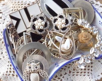 Vintage Jewelry Lot - Triangle Tassel - Metal Findings - Black White Enamel - Belly Dance Jewelry Parts - vintage jewelry destash D118