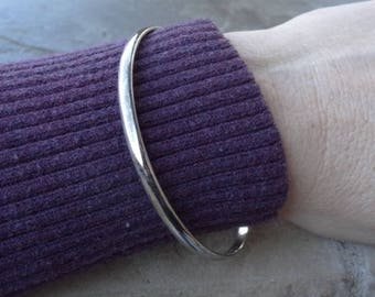 Vintage Mexico Bangle - Plain Sterling Bangle- Thin-  1980s Bangles From Mexico - Stackable Bangle - Simple - Vintage