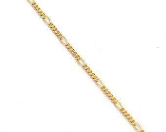 Gold plated Brass Chains 1mm Thin, Tiny Long and Short Cable Chains (#GB-126)/ 1 Meter=3.3 ft
