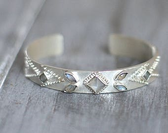 Bohemian Inspired Brushed Sterling Silver and Gemstone Cuff