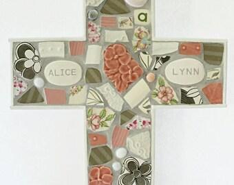 Mosaic New Baby Personalized Cross Wall Art