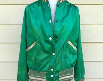 Vintage 50s 60s green satin baseball jacket / Vintage 1950s varsity jacket / BUTWIN label / BEST vibrant green color