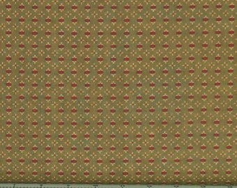 Red and Tan Oval Shirting Print on Green Background 100% Cotton Quilt Fabric for Sale, Kim Diehl's Katie's Cupboard Collection, HEG6673-66