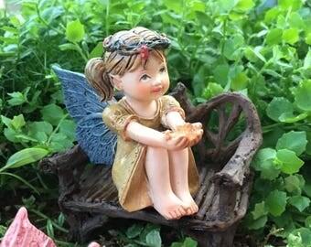 SALE Sweet Flower Crown Fairy Figurine, With Pig Tails, Holding Gem, Blue Wings, Miniature Garden Decor, Topper, Gift, Shelf Sitter