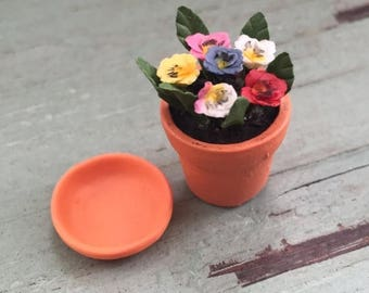 SALE Miniature Pansies in Terracotta Flower Pot, Dollhouse Miniature, 1:12 Scale, Mini Flowers, Dollhouse Flowers, Home & Garden Decor, Acce