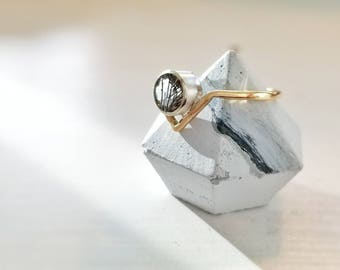 DIADEM Ring // mixed metals + rutile quartz // sterling silver + gold fill // statement ring promise ring engagement ring trinity Potter