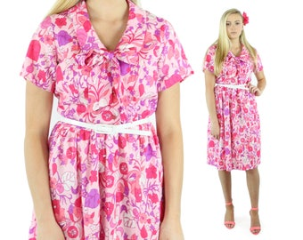 Vintage 60s Floral Dress Pink White Sundress Short Sleeves Gathered Skirt Collared Button Up Blouse 1960s XL Large L Lane Bryant