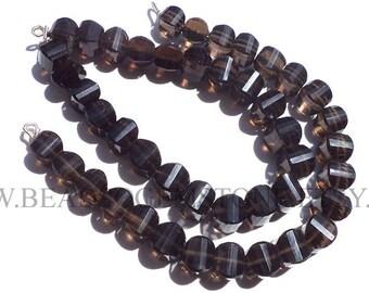 Gemstone Beads, Smoky Quartz Faceted Carambola (Quality A+) / 7 to 9 mm / 18 cm / SM-102