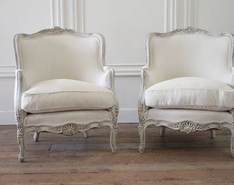 Pair of 19th Century Painted and Upholstered Louis XV Style Bergere Chairs