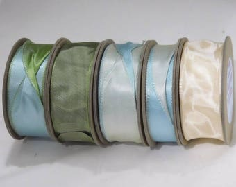 Satin Taffeta Shabby Vintage WIRED Ribbons Woven Edge Made in England 1-1/2 inch for Gift Wrap, Crafts, Decor, Scrapbooking, Wedding Shower