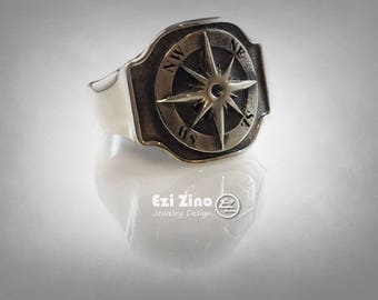 compass signet ring Solid Silver Sterling 925 by EZI ZINO