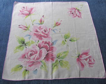 50s Rose Print Hanky Off White Cotton Pink Roses Floral Handkerchief
