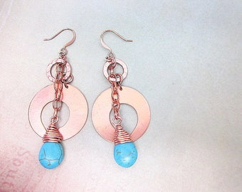 Copper & Blue Earrings -- Copper Circle Earrings -- Teal Teardrop Earrings -- Magnesite Drop Earrings -- Crescent Bead Earrings -- Dangles