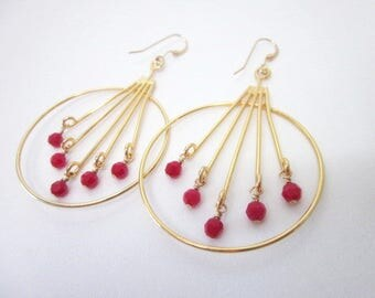Red & Gold Hoops -- Hoops with Red Beads -- Red Crystal Hoop Earrings -- Line Hoop Earrings -- Red Stick Earrings -- Red Crystal Bead Hoops