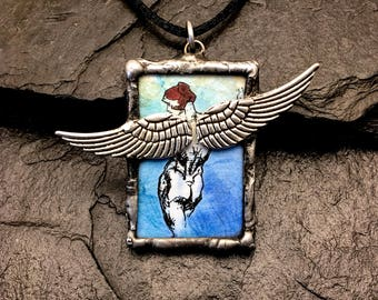 3D Wings Pendant with Inspiring Ray Bradbury Quote