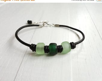 Summer Sale Black leather bracelet green bead bracelet leather cuff bracelet glass pony beads boho bracelet