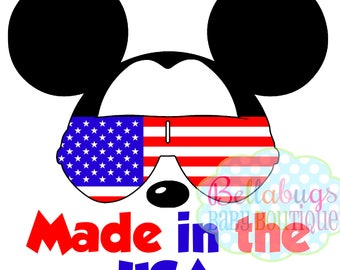 Made in the USA Mickey Mouse IRONON TRANSFER - Disney - Family Vacation - Fourth of July