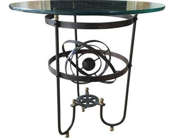 Vintage Iron & Glass Atomic Orbital Glass Top Coffee Table