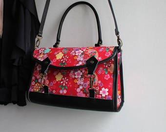 Satchel crossbody bag - zipper closure - red multicolored - Miya