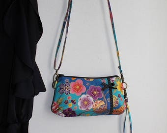 Evening clutch bag lon strap - Golden turquoise multicolored - Akane