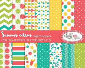 65%OFF SALE Digital paper, summer citrus digital papers, digital scrapbook papers, patterned scrapbook papers, commercial use papers, P179