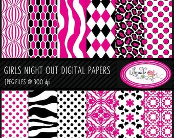 50%OFF Girls Night Out digital papers, hot pink and black digital paper, girls night out scrapbook paper, commercial use, P65