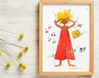 Hey June Gouache Illustration Summer Print A4 A3