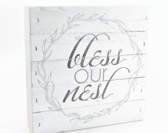 """Bless Our Nest Rustic Wreath Pallet Box Sign 7.5"""" x 7.5"""""""