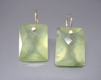 Large Ring Cut Prehnite Cushion Drops  // Light Green Earrings // Solid 14k Gold Earrings