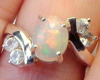 sz 7, Welo Opal Ring,Faceted White Topaz Accents, Natural Gemstone, Sterling Silver, Fine Jewelry, Ethiopian Opal, Semi-Transparent Opals