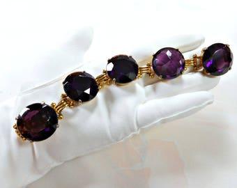 Vintage Purple Rhinestone Headlight Bracelet Huge Chunky