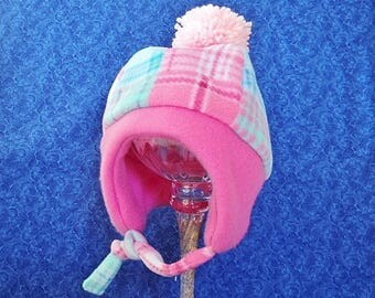 Winter Toddler Fleece Hats Pink and Aqua Plaid with Chin Strap