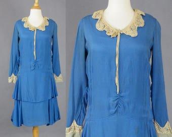 SOLD 1920's Dress, Vintage 20s Dress, Blue Silk Flapper Dress, Great Gatsby Dress, Roaring 20s Dress