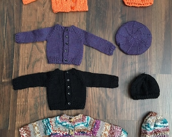 Choice of Hand Knit Wool Cardigan and Hat Set for Sasha or Gregor Doll