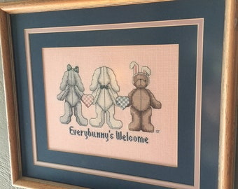 Janlynn Completed Framed SOMEBUNNY'S WELCOME cross stitch.