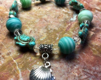Totally tubular teal turtle bracelet
