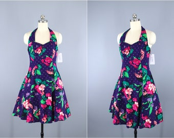 Vintage 1980s Party Dress / 80s Halter Dress / Rockabilly Sundress / Purple Floral Print / Full Crinoline / DBA LA / Small S XS