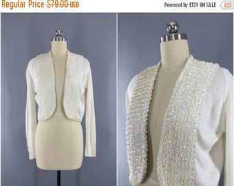 SALE - Vintage 1950s Sweater / 1960s Sequined Cardigan / Winter White Wedding Formal Cardi / Park-Storyk