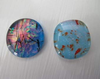 Two Blue Uncalibrated Dichroic glass cabochons