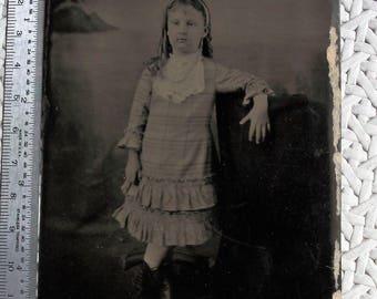 "3.5"" x 5"" Tintype  - Little Miss Ringlets Wearing Plaid"