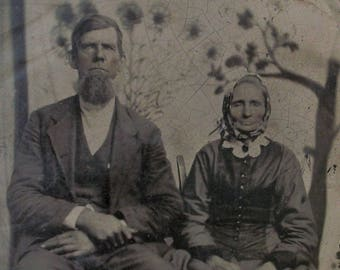 """Tintype LARGE 4.5"""" x 7 - Tiny Mother & Her Grown Son"""