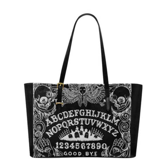 Ouija Black Leather Tote